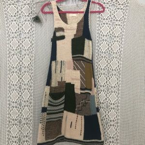 Anthropologie wool and cotton patchwork dress